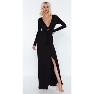Nasty Gal Brown Maxi Dress Front Tie Up Size 6